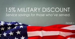 Military Discount - no expiration - 15% service savings for those who've served