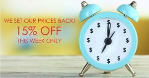 Take 15% off this week.