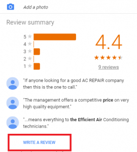 Picture of our Google reviews with a 4.4 average rating after 9 reviews