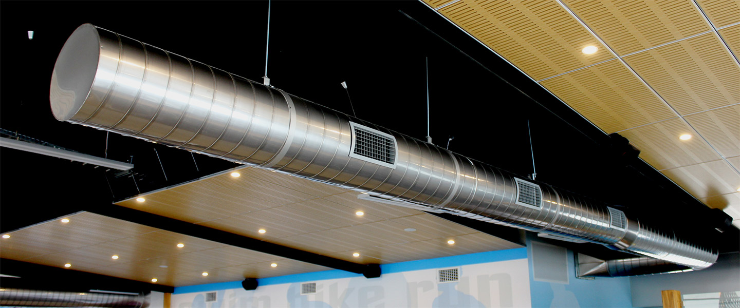 exposed air conditioning duct inside building